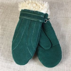 Vintage 100% suede mittens w/faux shearling trim